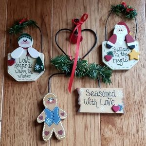 Other - Painted Wood Ornaments with Wire